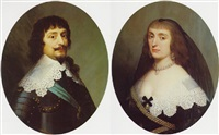 portrait of a gentleman, bust length, wearing armor and blue sash & a portrait of a lady, bust length by willem van honthorst