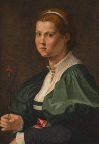 brustporträt einer jungen dame mit nelke by giuliano bugiardini
