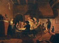 card players by the fireside by cornelis van cuylenburg