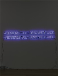 self-described twice (cobalt blue) by joseph kosuth