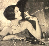 woman with overturned bottle and cigarette by lejaren à hiller