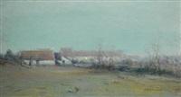 farm at dusk by ivan pavlovich pokhitonov