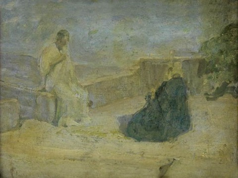 christ and nicodemus early study pencil study of landscape verso by henry ossawa tanner