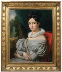 portrait de femme à la robe azur by marguerite gérard