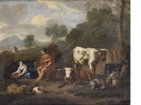 drovers resting with their flocks in an italianate landscape by isaac vogelsang