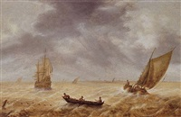 fishermen in a rowboat and other sailing vessels in a choppy sea, a city in the distance by hendrick van anthonissen