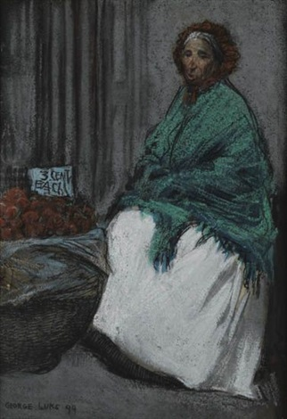 apple seller (+ woman in polka dots, brush and ink and wash w/pencil on paper, smllr; 2 works) by george benjamin luks