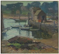 rockport harbor, boats at the dock by alice g. locke