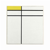 composition a, with double line and yellow by piet mondrian