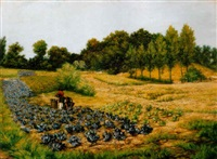 oszi délután a mezon, 1892 (autumn afternoon in the fields) by jacques samu kende