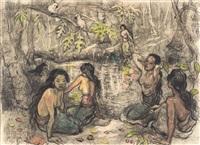 balinese women seated by a pond by adrien jean le mayeur de merprés