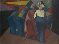 four female figures by jimo akolo