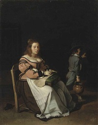 a lady sewing in an interior by michael sweerts