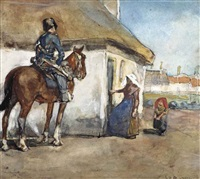 a hussar near a farmhouse by george hendrik breitner