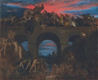der kampf auf der brücke (römerschlacht) (battle on the bridge) by arnold böcklin the elder