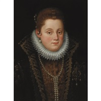 portrait of a lady in a millstone ruff and pearl necklace by scipione pulzone