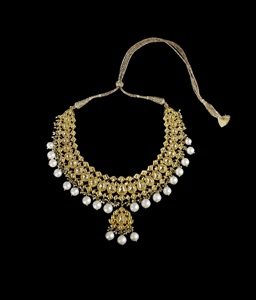 an indian diamond enamel cultured pearl necklace