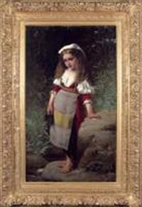 petite fille au bord d'une rivière by charles victor thirion