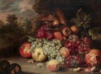 nature morte aux raisins, pommes et grenades by jan pauwel gillemans the elder
