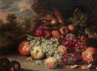 nature morte aux raisins, pommes et grenades by jan pauwel gillemans the elder