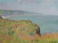 sur la falaise à pourville by claude monet