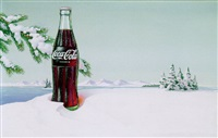 coke bottle standing in snow bank by kenneth w. thompson
