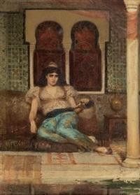 odalisque assise sur un divan by fernand cormon