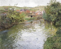 farmhouses on the banks of a stream by frits thaulow