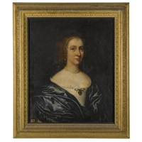 portrait of a lady, possibly margaret waller, wife of sir william courtenay, 1st bt. (1628-1702) by john hayls