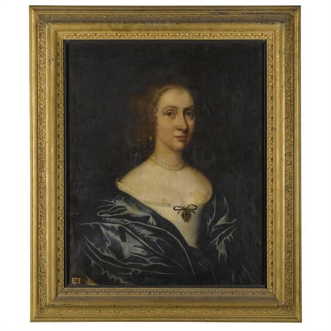 portrait of a lady possibly margaret waller wife of sir william courtenay 1st bt 1628 1702 by john hayls