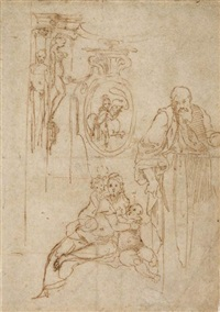 study for the holy family with the infant st. john the baptist and studies of architectural motifs by perino del vaga