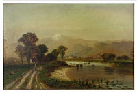 landscape with distant mountains by francis snowe