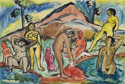 untitled (bathers) by francis newton souza