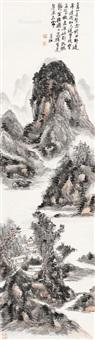 溪山凝翠图 立轴 设色纸本 (landscape) by huang binhong