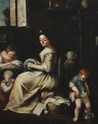 interior with a mother and her children, the small boy is peeing in a pot by pietro longhi