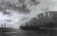 fisherfolk resting in an extensive coastal landscape by warner gyselman