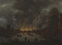 the burning of amsterdam by anthonie van borssom