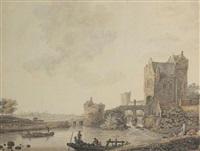 fortification au bord d'une rivière animée de personnages by david alphonse de sandoz-rollin