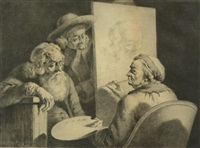the grand school master (self portrait in studio) by jean-jacques de boissieu