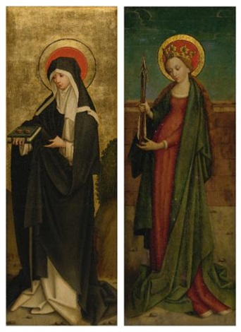 saint odilia of alsace saint ursula pair by hans holbein the elder