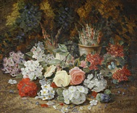 still life with flowers by henry j. livens