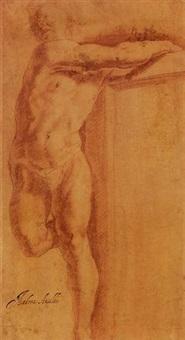 un homme s'appuyant sur une structure, tourné vers la gauche by giovanni andrea ansaldo