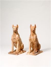 girl dogs, house of scher (malwine) (+ girl dogs, house of scher (magdala); 2 works) by julia scher