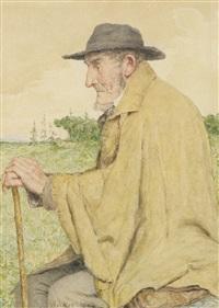 sitzender mann mit stock by albert anker