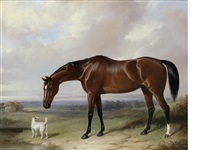 a bay hunter and a terrier in a landscape by william barraud
