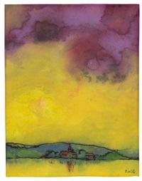 landschaft mit kirche (gelb und violett) by emil nolde
