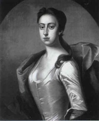 portrait of lady betty fitzwilliam, half length, wearing a white satin dress and blue wrap by james fellowes