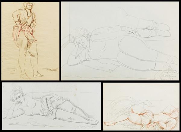 leda & the swan, reclining woman, standing woman, lying woman (4 works) by raúl anguiano