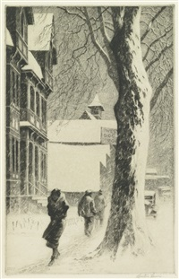 winter on white street by martin lewis