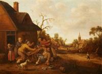 a village scene with peasants fighting by joost cornelisz droochsloot